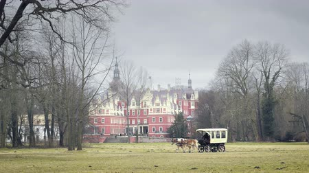 previously : Driving carriage with two horses. Tourist carriage with a chariot running along a chateau park