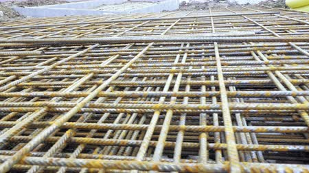 reinforced concrete : Metal roxters, reinforcement in reinforced concrete ceilings. Building material, background texture. Kari nets, roxor, concrete steel, metallurgical material