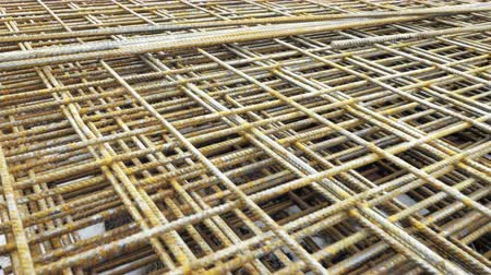 constructing : Metal roxters, reinforcement in reinforced concrete ceilings. Building material, background texture. Kari nets, roxor, concrete steel, metallurgical material