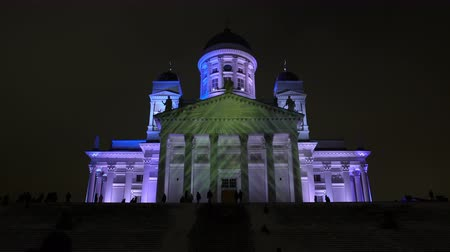 installation lectrique : HELSINKI  FINLAND - FEB 13 2017: Light Installation on the Facade of the Cathedral of Helsinki. Festival of Light Lux Helsinki in 2017.