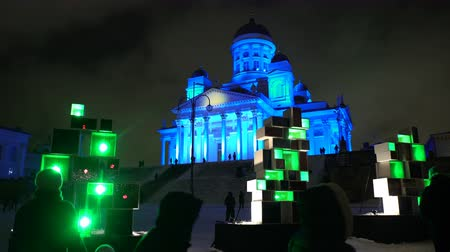 senate square : HELSINKI  FINLAND - FEB 13 2017: Light Show at the Senate Square in Helsinki. Festival of Light Lux Helsinki in 2017. Stock Footage