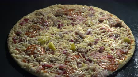 open hearth : Fast pizza making at home in an electric furnace. Time Lapse. Close up Stock Footage
