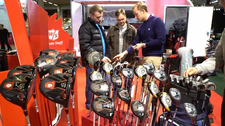 eixo : HELSINKI, FINLAND - MARCH 17, 2017: Many types of golf club in golf shop. All for active lifestyle, outdoor activities and versatile sport at the international fair GOEXPO 2017 in the expocenter Messukeskus.