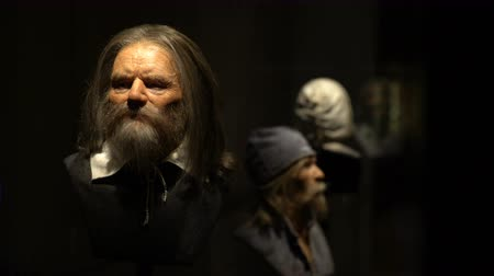 reconstructed : STOCKHOLM, SWEDEN - MAY 01, 2016: The wax figure of the dead crew members from the merchant ships Vasa in the same museum. Dolly shot. Stock Footage