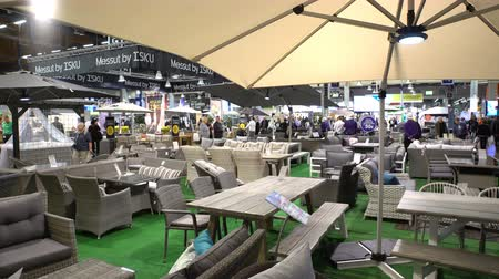 rotáng : HELSINKI, FINLAND - APRIL 07, 2017: Garden Furniture at the Landscape Design Fair. Annual Fair Spring Garden at the Expocenter of Messukeskus.
