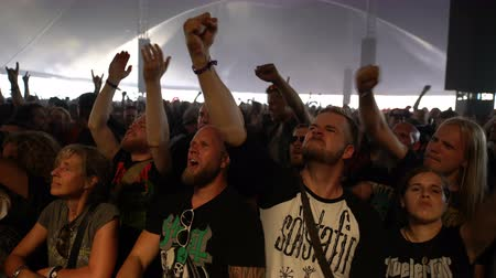 torcendo : HELSINKI, FINLAND - JUNE 01, 2016: A lot of fans applauding and waving their hands at a rock concert. Heavy metal rock festival Tuska, Helsinki, Finland.