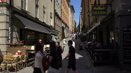 nobel : STOCKHOLM, SWEDEN - MAY 2, 2016: Narrow streets in the old town (Gamla Stan) in Stockholm. Stock Footage