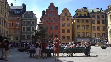 nobel : STOCKHOLM, SWEDEN - MAY 2, 2016: Many tourists on the square in front of the Nobel Museum in the old town (Gamla Stan) in Stockholm. Time Lapse.