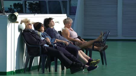 baltské moře : BALTIC SEA - MAY 31, 2016: Passengers rest on the upper deck of a large sea ferry Viking Line during the cruise Helsinki - Stockholm. Dostupné videozáznamy