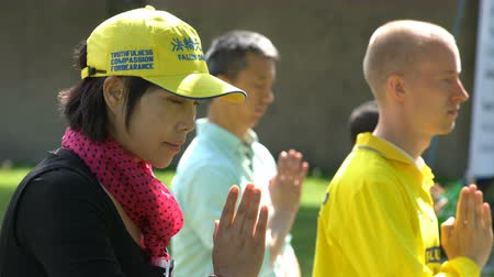 persuasion : HELSINKI, FINLAND - JUNE 11, 2017: Gathering of Chinese Falun Gong or Falun Dafa practitioners in the city park. Stock Footage