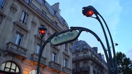 french metro : PARIS, FRANCE - JULY 22,2017: Art Nouveau entrance to Paris Metro subway