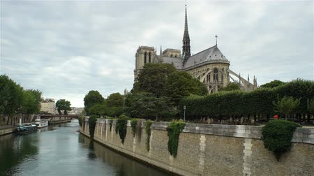 paris : View of Notre Dame de Paris from the Seine river