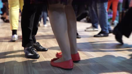 öğrenme : A Lot of People Learn to Dance Close Up Of Legs. A Lot of People Learn to Dance Stok Video