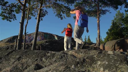 vakáció : Two active young women with backpacks are climbing cliff. Friends help each other to climb the high rock. Nordic landscape with pine trees, cliffs and sea.