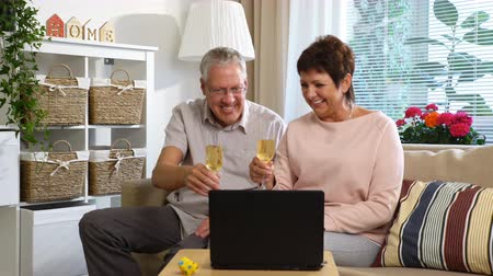 pensão : Elderly Couple Connected with Friends using Laptop Video Call Camera and Drinking Champagne Sitting in the Living Room