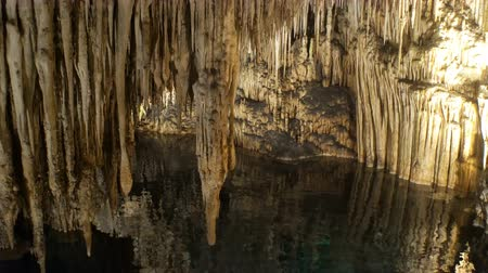 cavern : Stalactite stalagmite cave in Mallorca, Spain Stock Footage