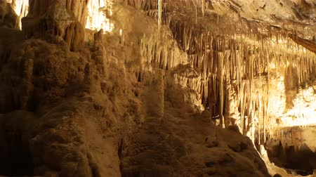 speleology : Stalactite stalagmite cave in Mallorca, Spain Stock Footage