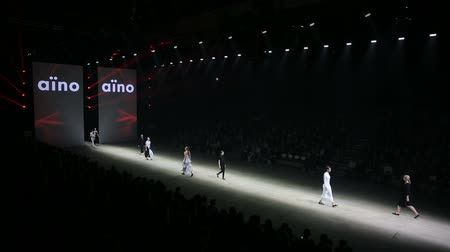 pist : HELSINKI, FINLAND - OCTOBER 20, 2017: Fashion Show Finnish brand AINO during Fair I LOVE ME - Beauty, Health, Naturally, Fashion and Jewel Watch at Messukeskus Expo Centre