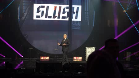 democrats : HELSINKI, FINLAND - NOVEMBER 30, 2017: Al Gore Vice-President of the United States, Nobel Peace Prize Laureate speaks at the opening ceremony of the startup and tech festival Slush in Messukeskus Expo center.