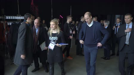 heir : HELSINKI, FINLAND - NOVEMBER 30, 2017: Prince William, Duke of Cambridge, exits the Messukeskus Expo center after visiting the tech and startup event Slush during his trip to Finland