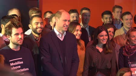 heir : HELSINKI, FINLAND - NOVEMBER 30, 2017: Prince William, Duke of Cambridge, meets with PwC employees at the startup and tech event Slush in Messukeskus Expo center during his visit to Finland. Stock Footage