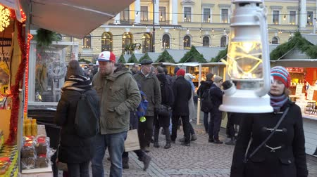 senate square : HELSINKI, FINLAND - DECEMBER 11, 2017: Christmas Lantern on the Christmas holiday market on Senate Square opposite the Cathedral.