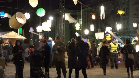 luxo : HELSINKI, FINLAND - JAN 07, 2018: Lantern park - Hundreds of unique lanterns designed by students during the public Festival of Light LUX.
