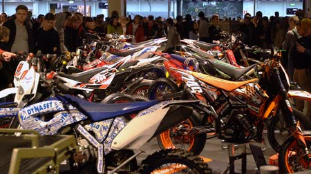 sběratelskou : HELSINKI, FINLAND - FEB 03, 2018: Old vintage motocross bikes. Motorcycles, mopeds, scooters, riding gear, spare parts at the largest motorcycle show in the Nordic countriesries MP18.