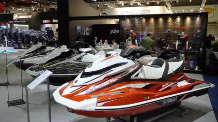 mariner : HELSINKI, FINLAND - FEB 15, 2018: Powerful jet skis on Helsinki International Boat Show 2018. Northern Europes largest boating event to boaters, water sports enthusiasts and fishermen Stock Footage