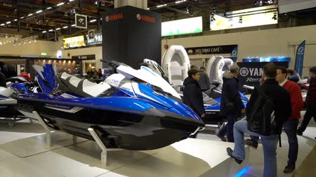 jet ski : HELSINKI, FINLAND - FEB 15, 2018: Powerful jet skis on Helsinki International Boat Show 2018. Northern Europes largest boating event to boaters, water sports enthusiasts and fishermen Stock Footage