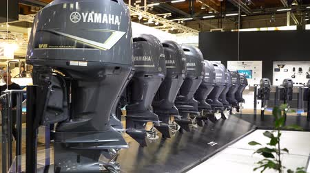 mariner : HELSINKI, FINLAND - FEB 15, 2018: Powerful expensive boat motors Yamaha. Helsinki International Boat Show 2018. Northern Europes largest boating event to boaters, water sports enthusiasts and fishermen