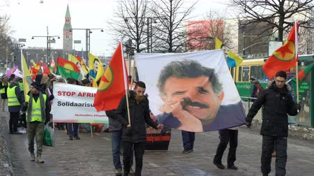 akp : HELSINKI, FINLAND - JANUARY 15, 2018: Kurds protest against Turkish aggression in the middle East. A peaceful demonstration on the streets of Helsinki