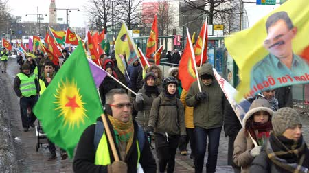 genocide : HELSINKI, FINLAND - JANUARY 15, 2018: Kurds protest against Turkish aggression in the middle East. A peaceful demonstration on the streets of Helsinki