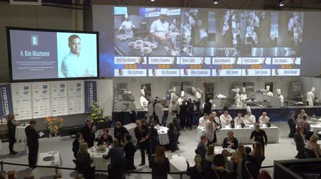bizottság : HELSINKI, FINLAND - MARCH 18,2018: Contest Chef of the Year during the show Gastro Helsinki. Finlands leading trade fair for the hotel, restaurant and catering industry