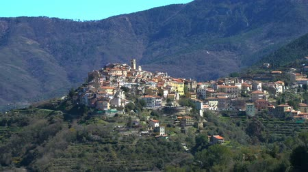 settlement : The ancient town of Perinaldo high in the mountains of Liguria in Western Italy Stock Footage