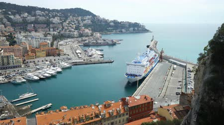cote : NICE, FRANCE - MARCH 28, 2018: Bay of angels (Baie-des-Anges), Provence, Côte dazur, France Stock Footage