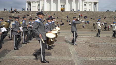 senate square : HELSINKI, FINLAND - MAY 18, 2018: The Finnish Defence Force military band performs free public concert and parade in the centre of Helsinki, Senate square Stock Footage