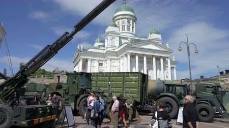 submachine : ESPOO, FINLAND - JUNE 04, 2018: Show modern weapons of The Finnish Defence Forces in honour of the 100th anniversary on the Senate square In Helsinki
