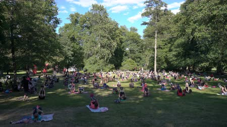 all ages : ESPOO, FINLAND - JUNE 12, 2018: Mass aerobics in a public city Park in Helsinki. Enthusiasts and fans of a healthy lifestyle of all ages are engaged in sports outdoors