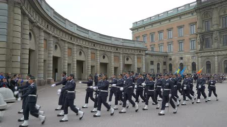 stockholm : STOCKHOLM, SWEDEN - JUNE 20, 2018: Divorce of the guard at the Royal Palace in Central Stockholm.