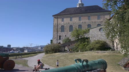 northen : OSLO, NORWAY - JULY 04, 2018: Visitors in the ancient castle and fortress of Akershus