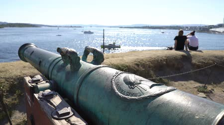 northen : OSLO, NORWAY - JULY 04, 2018: Ancient bronze cannon in the ancient castle and fortress of Akershus