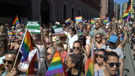 haziran : OSLO, NORWAY - JUNE 30, 2018: A lot of fancy-dress people with rainbow flags dance, sing and laugh in the street. The Pride Parade, the highlight of Oslo Pride Week, is a huge, vibrant parade filling the city streets. Stok Video