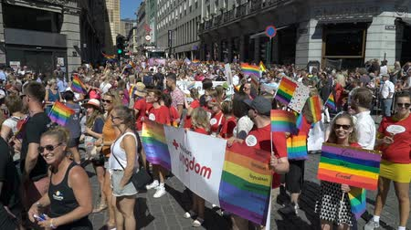 солидарность : OSLO, NORWAY - JUNE 30, 2018: A lot of fancy-dress people with rainbow flags dance, sing and laugh in the street. The Pride Parade, the highlight of Oslo Pride Week, is a huge, vibrant parade filling the city streets. Slow motion Стоковые видеозаписи
