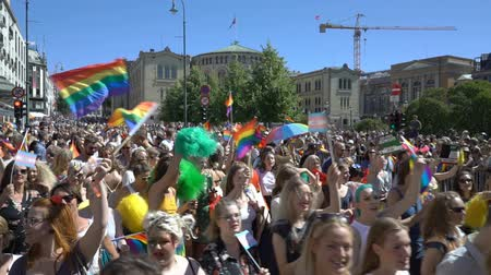 af : OSLO, NORWAY - JUNE 30, 2018: A lot of fancy-dress people with rainbow flags dance, sing and laugh in the street. The Pride Parade, the highlight of Oslo Pride Week, is a huge, vibrant parade filling the city streets. Slow motion Stok Video