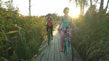 kamış : Two young women ride bicycles on a wooden ecological trail among the reeds