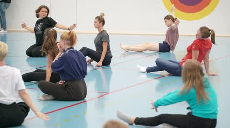 master class : JYVASKYLA, FINLAND-AUGUST 17, 2018: Master class on clownery by Stanislav Varkki during the international theater festival Art-Workshop