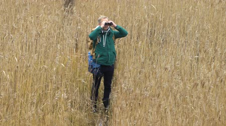 binocular : A middle-aged man with a backpack walks along a water path through reed beds on a lake, watching birds with binoculars in autumn in Finland