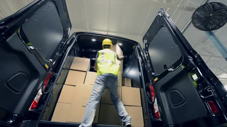 kurier : Courier Delivery. Shipment Delivery and Unloading by Worker. Wideo
