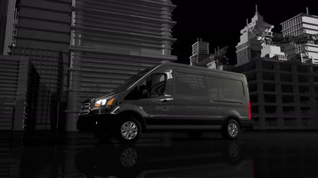czarne : Cargo Van Animation and Cityscape. Wideo
